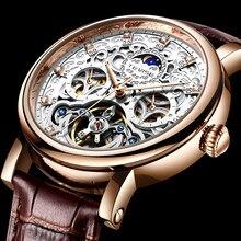 TEVISE Brand Classic Retro Men Watches Automatic Mechanical Watch Men Tourbillon Clock Genuine Leather Waterproof Business Watch