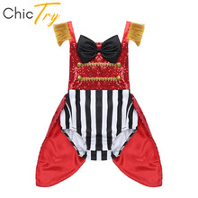 Circus Costume Halloween Cosplay Birthday-Party Baby-Girls Striped Ringmaster Romper