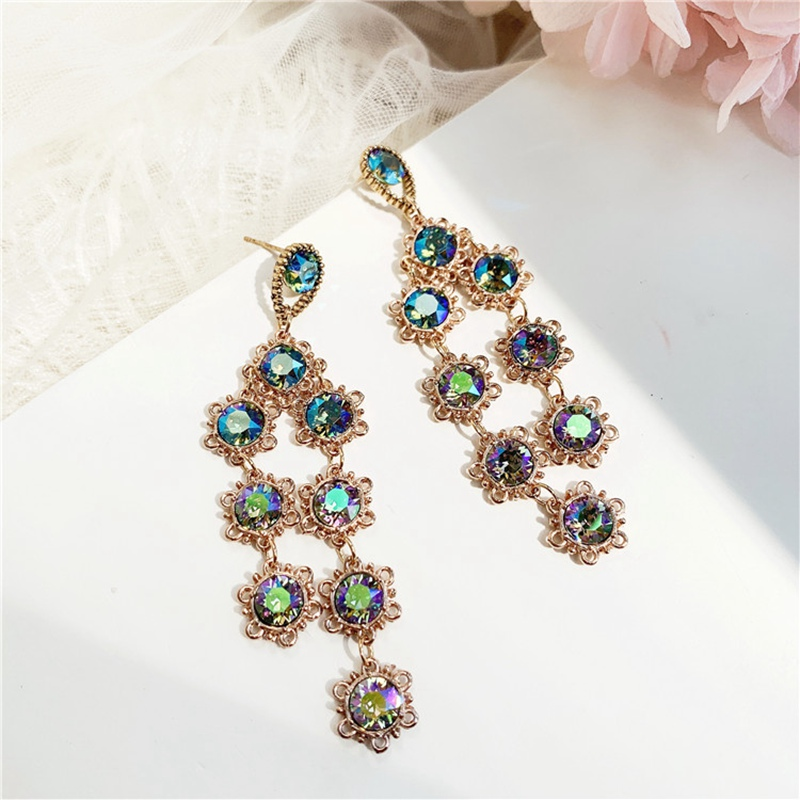 Купить корейский новый дизайн модные ювелирные изделия зеленый кристалл