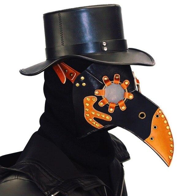 Halloween Steampunk Plague Doctor Mask White/Black Latex Cosplay Bird Beak Masks Long Nose Party Event Ball Costume Props 2