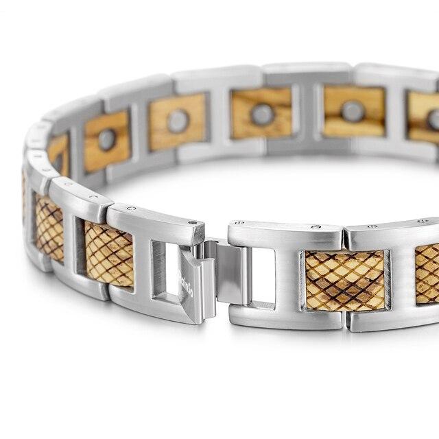 Hf8aa2c9e03134c81b4dcbb204a7eb0a2U - Zebrawood Magnetic Stainless Steel Bracelet