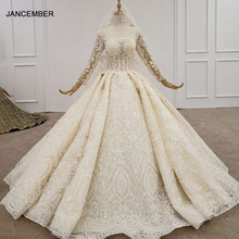 HTL1197 Ball Gowns Petite Bride Wedding Dress 2020 Square Collar Long Sleeve Applique Sequin Backless