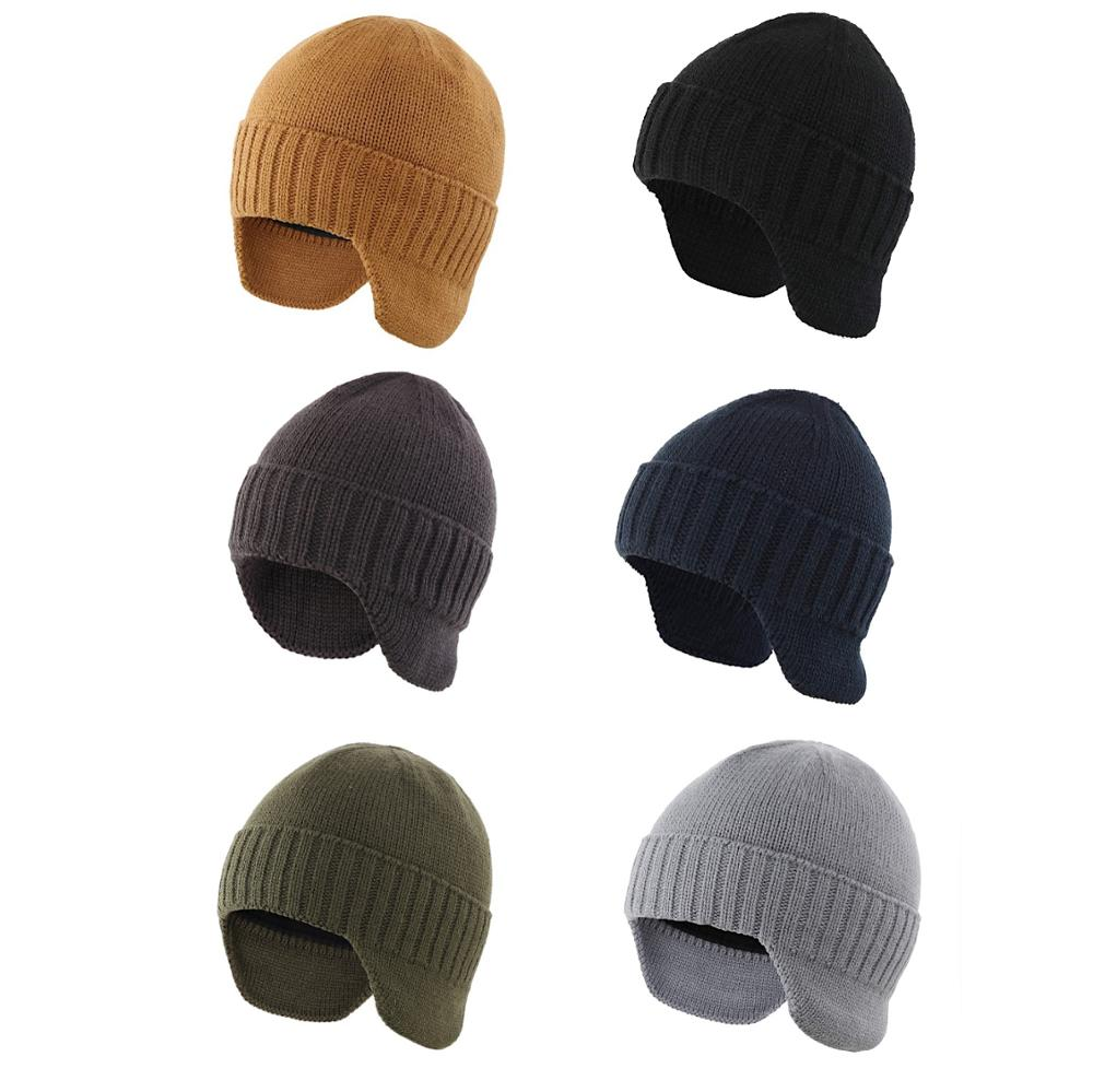 Connectyle Mens Classic Winter Tuque Knitted Skull Cap Earflap Hat Stocking Caps With Ears Warm Hat