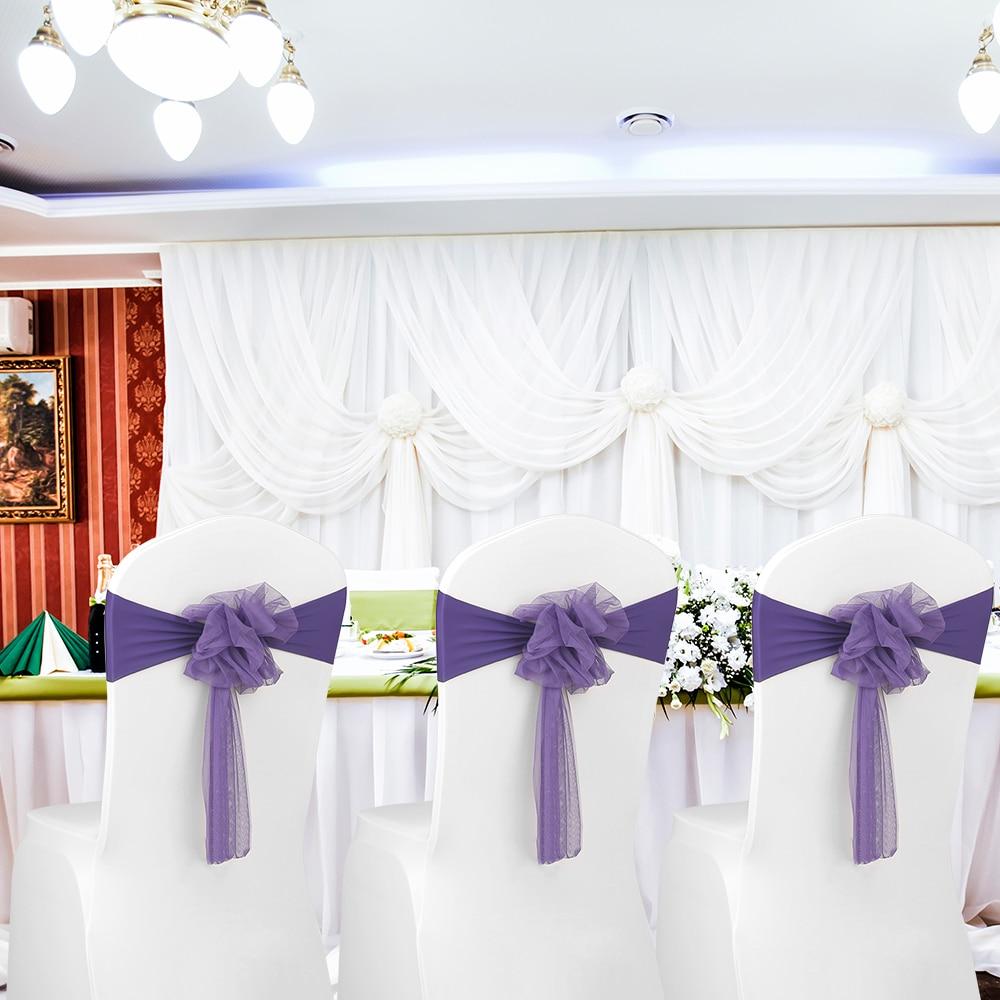 10 pièces mariage fleur chaise ceintures élastique Spandex Organza chaise ceinture couvre mariage Banquet fournitures décoration de fête