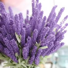 1pcs foam lavender 12 vivid artificial bouquets home wedding jewelry garden decoration fake flowers(China)