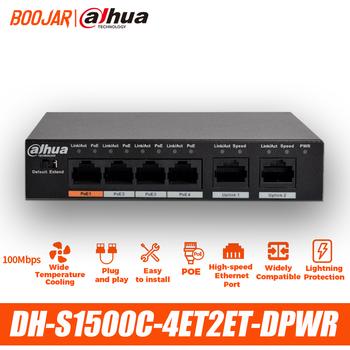 Dahua 4ch przełącznik PoE DH-S1500C-4ET2ET-DPWR 4CH włącznik Ethernet obsługa PoE PoE + protokół hi-poe tanie i dobre opinie 1*10 100Mbps Uplink port 4*10 100Mbps PoE ports DC48~57V power adapter -10°C~+55°C 1 8Gbps 890Kb 768K