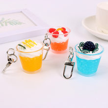 2020 Creative simulation ice cream key chains food ice cup car key chain decorative pendant accessories bag hanging ornaments(China)