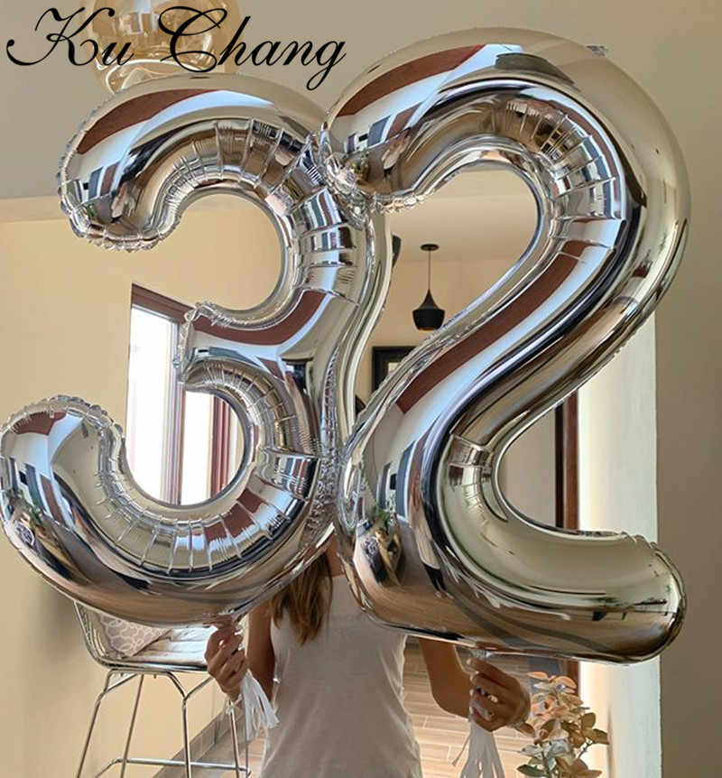 16/30/40 Inch 1PC Number Balloons Foil Balloons Gold Silver Rose Gold Baby Shower Decorations Wedding Birthday Party Decorations