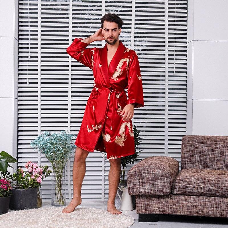 Nightwear Men Silk Pajamas Shorts Two-piece Suit Summer Thin Long-sleeved Pajamas Plus Size Dragon Robe Bathrobe Black Red Blue