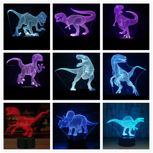 Dinosaur 3D LED Illusion Lamp Optical Lights 7 color Multicolored USB Home Decoration Color Changeable For boys