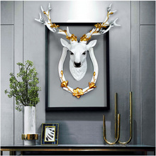 3D Deer Head Resin Retro Hangings Vintage Sculpture Antique Crafts Birthday Gift Wall Club Office Home Decoration Artwork