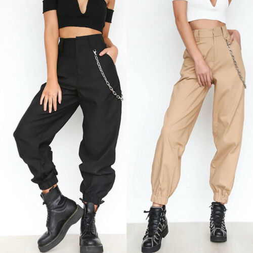Black Khaki Women Casual High Waist Cargo Pants Ladies Loose Fashion Solid Trousers Side Pockets Elastic Waist Capris Hot Sale
