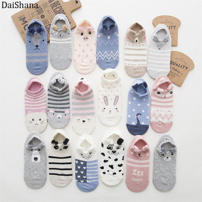 5 Pairs Women Socks Ankle Socks Spring Summer Cartoon Cute Cotton Cat Bear Ear Animal Japanses Style Invisible Boat Socks 35-42