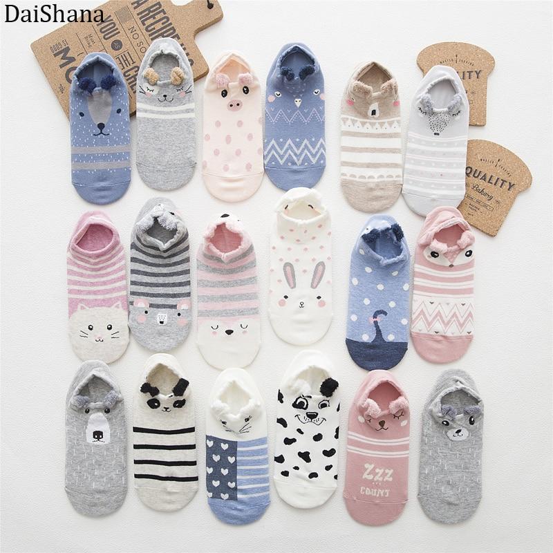5 Pairs Women Socks Ankle Socks Spring Summer Cartoon Cute Cotton Cat Bear Ear Animal Japanses Style Invisible Boat Socks 35-42