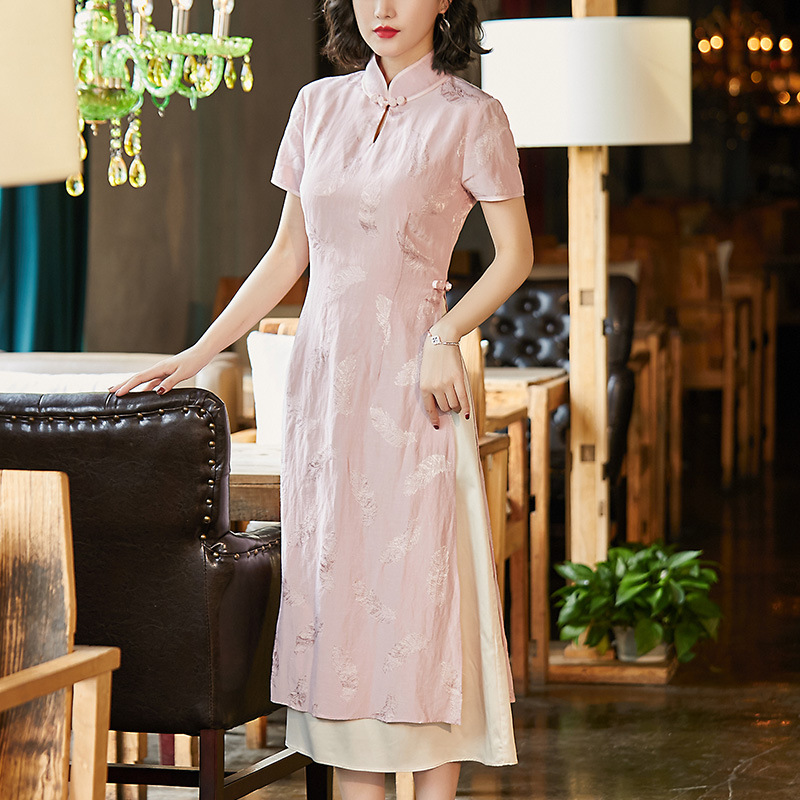 [Agent Main Push Have Preferential Price] Cheongsam Women's 2019 Spring Clothing New Style Mock Two-Piece Mid-length Dress 90100