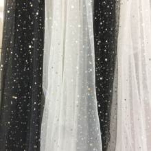 5 yards/lot off white black tulle lace fabric with gold silver star, bridal gown wedding dress veils bbay tutu