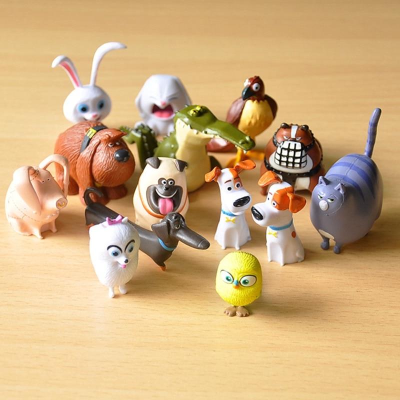 14 pçs segredo animais de estimação pvc coelho bola de neve gidget mel cão max duke gato figura de ação brinquedos presente natal brinquedo