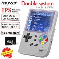 Consola de videojuego clásicos de doble sistema, mando de juegos portátil con pantalla IPS de 2.8 pulgadas, retro Linux de RG300, 32GB, TF 13000