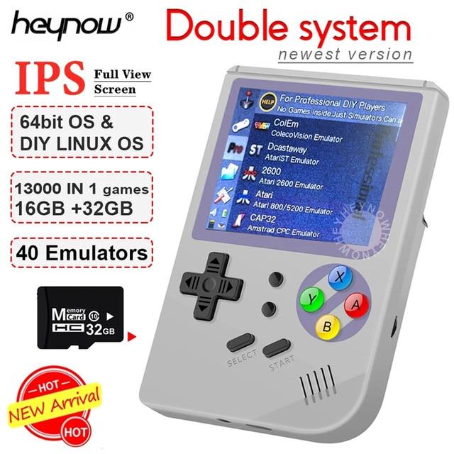 ダブルシステム Linux レトロビデオゲームコンソール 2.8 インチの ips 画面ポータブルハンドヘルドゲームプレーヤー RG300 32 ギガバイト TF 13000 古典的なゲーム