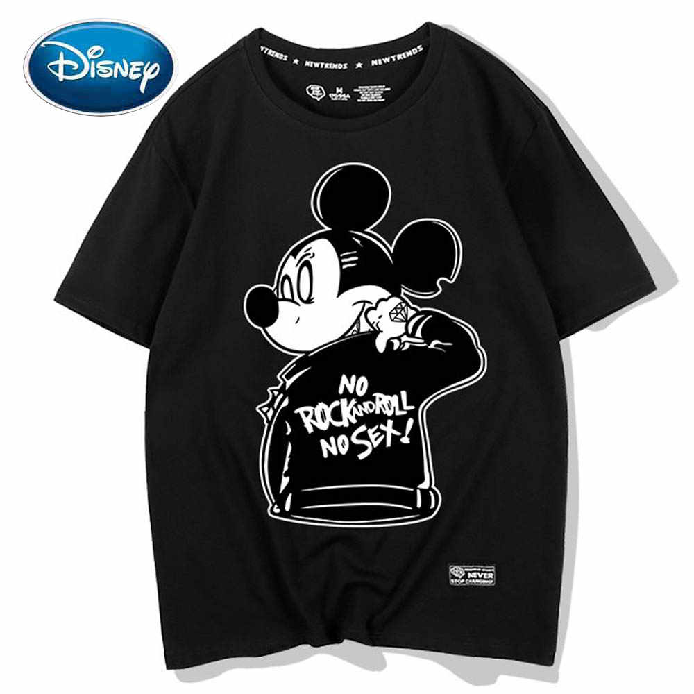 Disney T-shirt Mickey Mouse Brief Cartoon Print Chic Fashion Koppels Unisex Vrouwen O-hals Trui Korte Mouw Tee Top 5 Kleuren