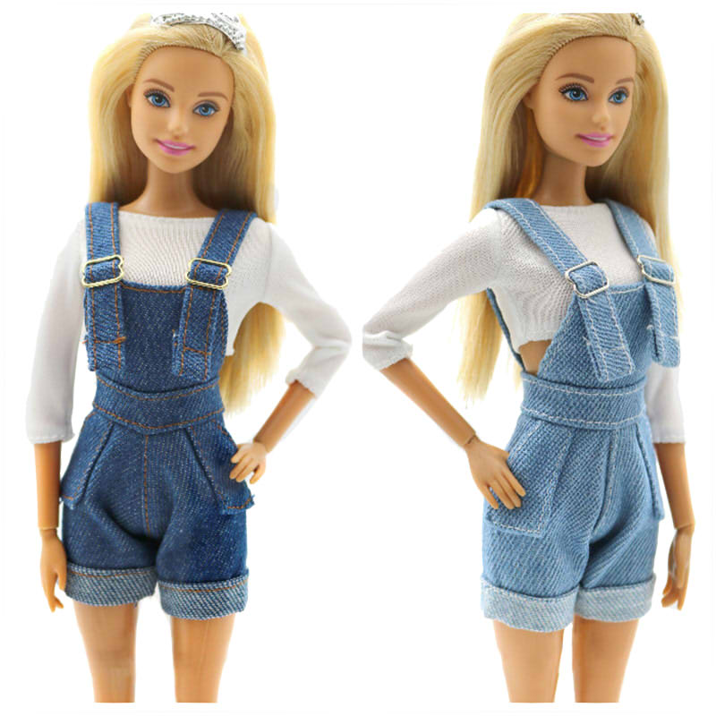 Fashion Suspenders Trousers Outfit Set for Barbie 11 Inches BJD FR SD Doll Dress Clothes Dollhouse Roll Play Accessories
