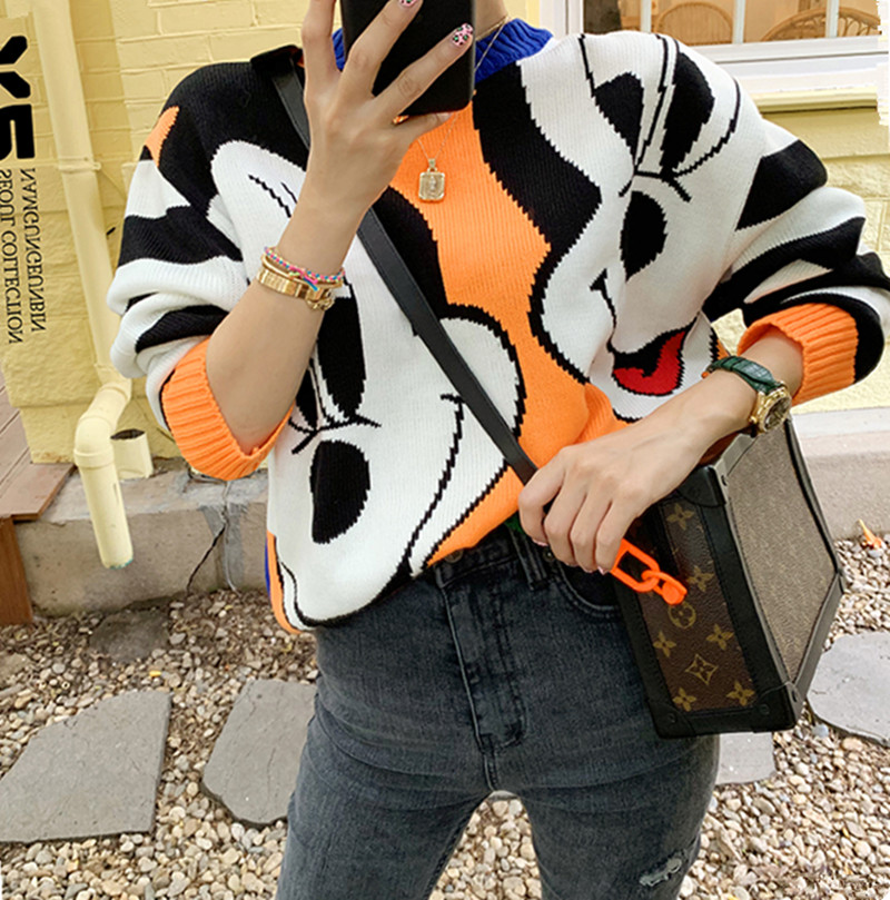 GRUIICEEN Korea style 4 color Cartoon Loose Sweater woman Round neck knitting pullover GY2019018
