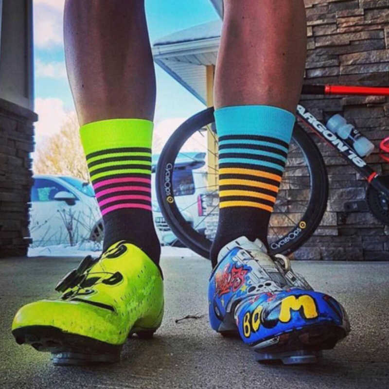 Pro Men Women XC Road Cycling Socks Riding Bicycle Breathable Sports Socks Blue