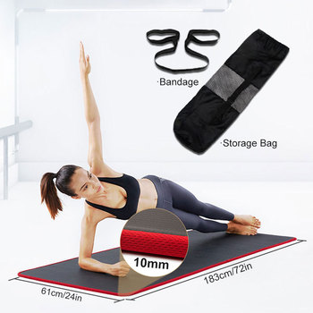 10mm Non Slip Yoga Mat 183cm 61cm Thickened NBR Gym Mats Sports Indoor Fitness Pilates