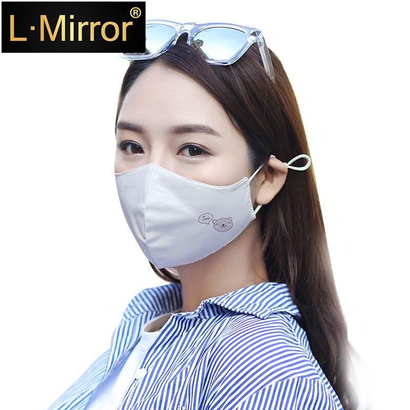 L.Mirror 1Pcs Cotton Dustproof Mouth Face Mask Anime Cartoon Fashion Bear Women Muffle Face Mouth Masks Reusable