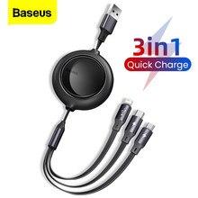 Baseus 3 in 1 Typ C USB Kabel für iPhone 12 Pro Max Versenkbare Micro USB C Schnelle Lade für huawei Xiaomi Samsung Datum Kabel