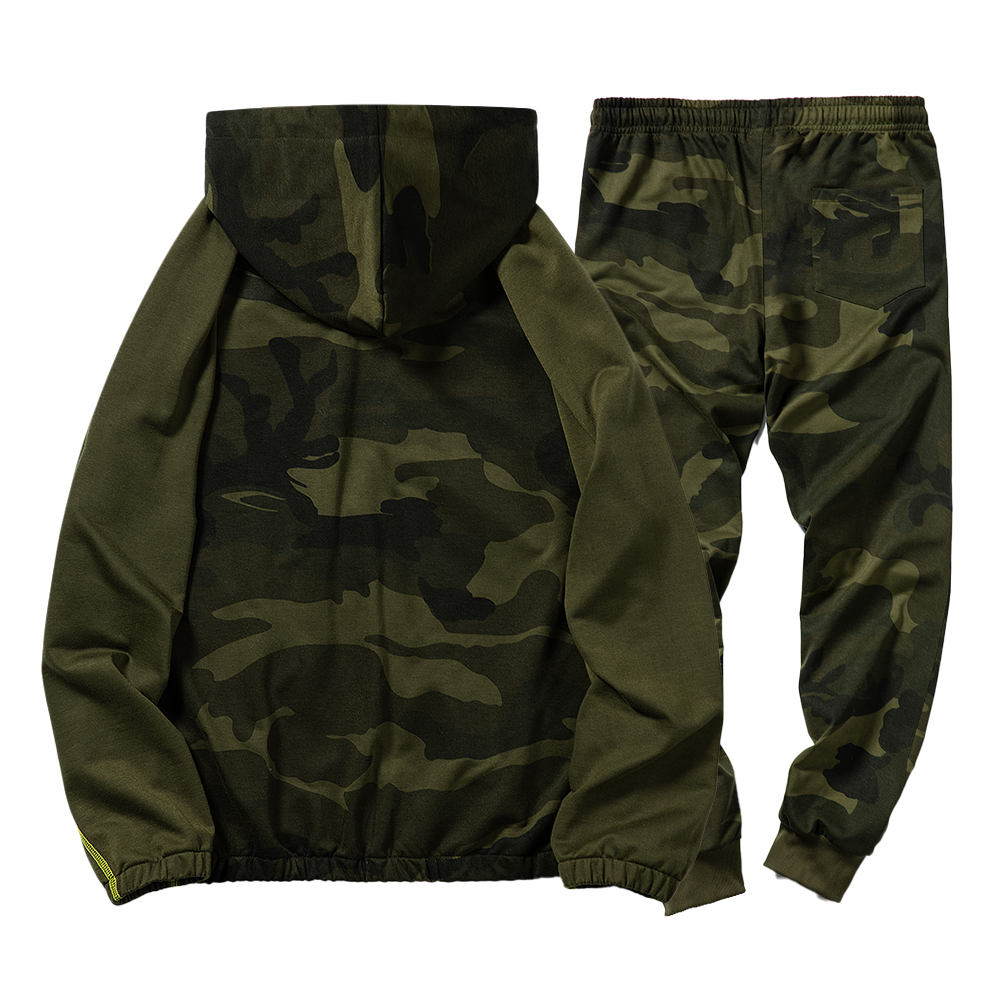 Sports Mens Camouflage Full Tracksuit Hoodies+Pants  Sportswear Suits