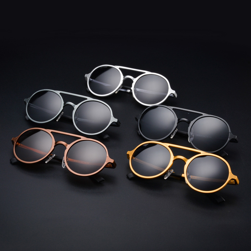 Image 3 - KEITHION Designer Steampunk Sun glasses Female Retro Aluminum magnesium Sunglasses Men Round Sunglasses Polarizes oculos de solMens Sunglasses   -