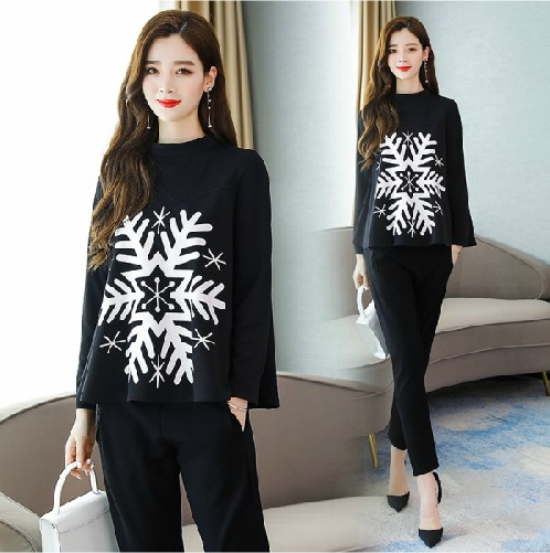 2019 Autumn Black Snowflake Print Two Piece Sets Outfits Women Plus Size Tops And Pants Suits Elegant Office Korean Fashion Sets 32