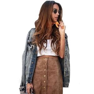 Skirt Pocket Short Button Lace-Up Suede Brown Autumn High-Waist Preppy Women with Mini