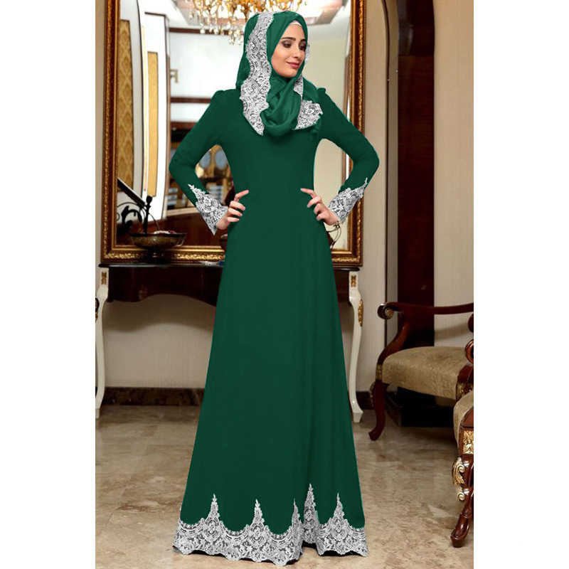 WEPBEL женское мусульманское платье dubai длинный рукав плюс Размеры свободные Абаи однотонная аппликация халат Slim Fit большие качели Исламской Костюмы S-3XL