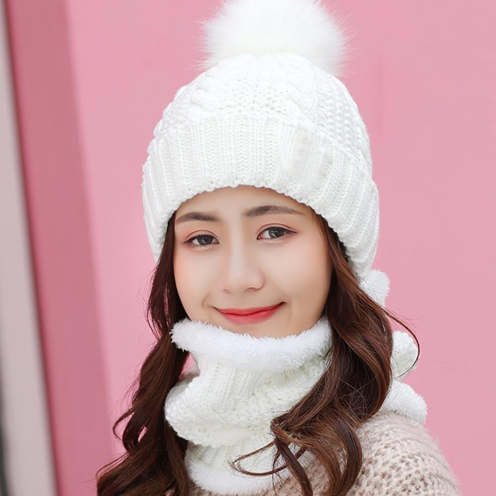 Women Knitting Hat Scarf Set Beanie Slouchy Fleece Ski Cap Winter Keep Warm Home Faux Fur Soft Shopping Baggy