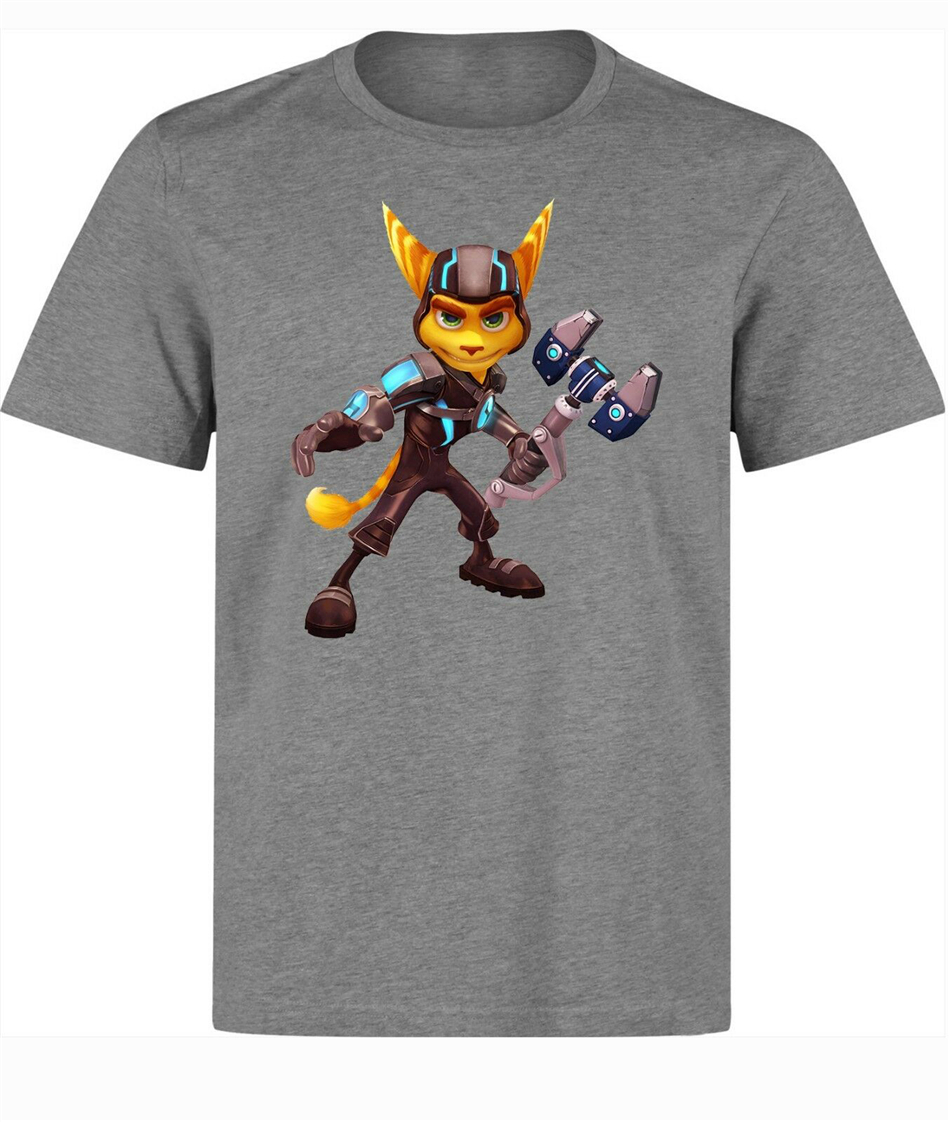 Ratchet And Clank Game Character Ratchet men's (woman's available) grey T Shirt Tee Shirt graphic retro Tops image
