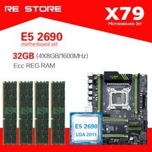 Комплект материнской платы Kllisre X79 с Xeon E5 2690 4x8 ГБ = 32 Гб 1600 МГц DDR3 память ECC Reg