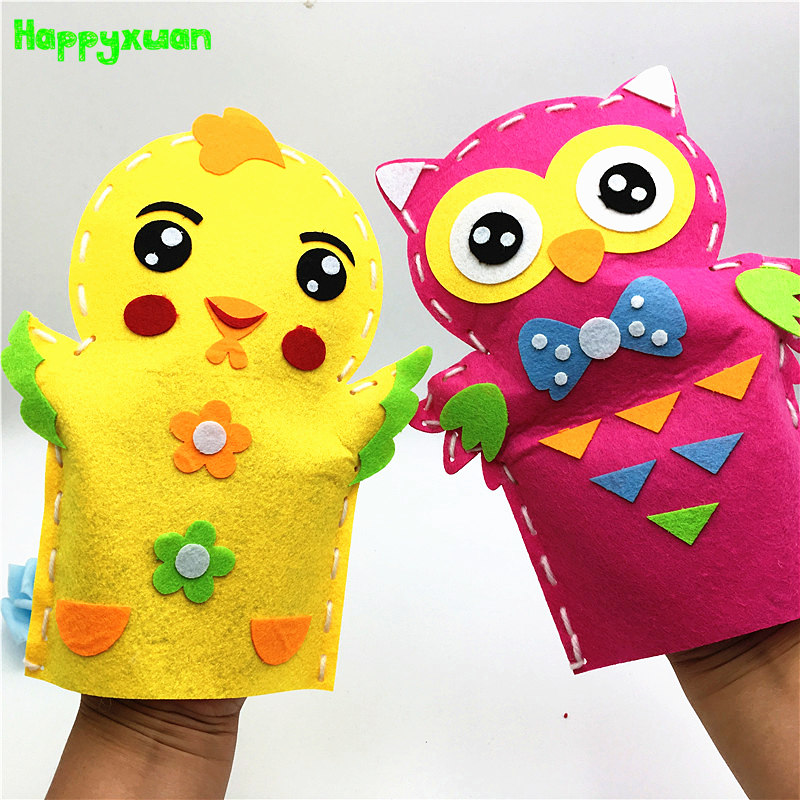 Happxuan 8 Designs/set DIY Sewing Kit Kids Felt Toys On Hand For Puppet Theater Craft Story Telling Animal Frog Educational Girl