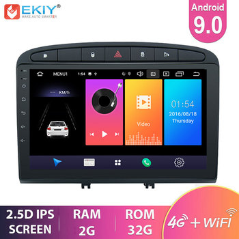 EKIY 9'' 2.5D IPS Android 9.0 Car Radio for Peugeot 308 2007-2013, 408 2011-2014 Stereo Navigation GPS Multimedia Player BT USB image