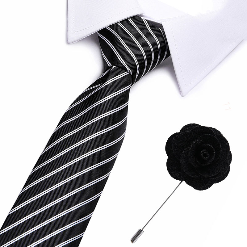 Classic 100% Silk Men's Ties Black Striped  Neck Ties 7.5cm Ties With Flower Pin For Men Formal Business Wedding Party Neckties