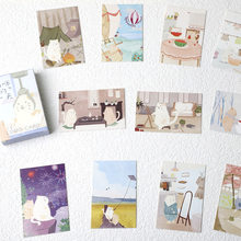 28 folhas/conjunto bonito gato de vida diária, mini cartão de visita lomo cartão postal/cartão desejado/natal e novo presentes do ano