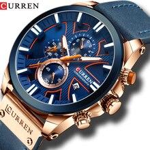 Часы наручные CURREN Мужские кварцевые, брендовые Роскошные модные спортивные в стиле милитари, с хронографом и кожаным ремешком