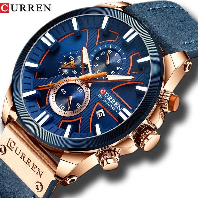 גברים שעון יד CURREN למעלה מותג יוקרה עור קוורץ שעון אופנה הכרונוגרף שעוני יד זכר ספורט צבאי שעון