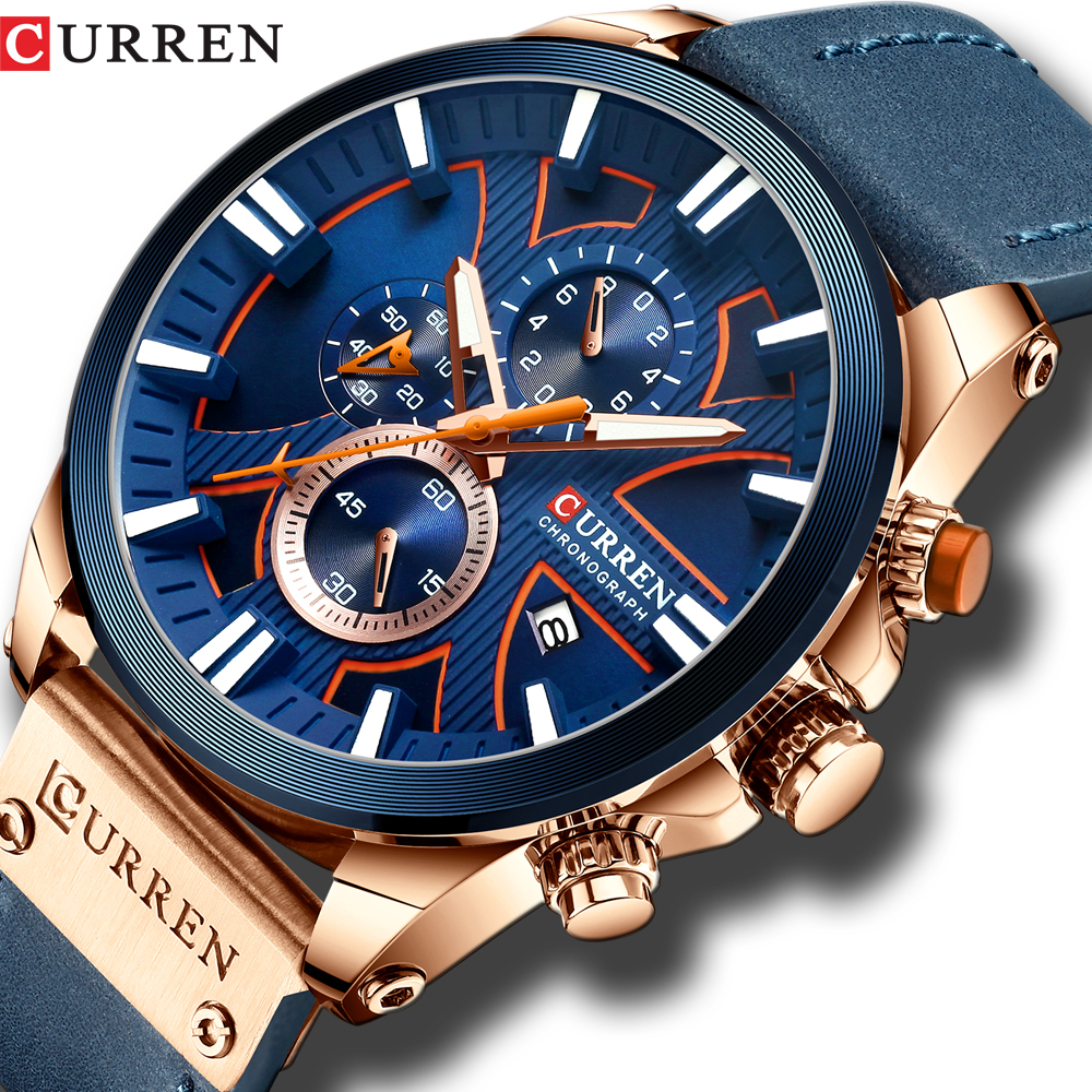 Men Watch Wrist CURREN Top Brand Luxury Leather Quartz Clock Fashion Chronograph Wristwatch  Male Sport Military Watch