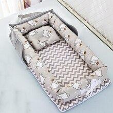 Портативная детская кроватка, складная подушка для новорожденной кровати, хлопковое гнездо, детское постельное белье, корзина, бамперы YHM030