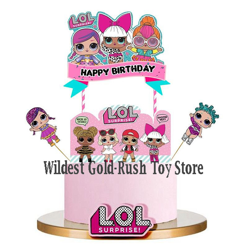 24pcs LOL Surprise Dolls Cake Card Fruit Plug-in Children Birthday Party Supplies Plugin Lol Surprise Birthday Toys Set 10CM