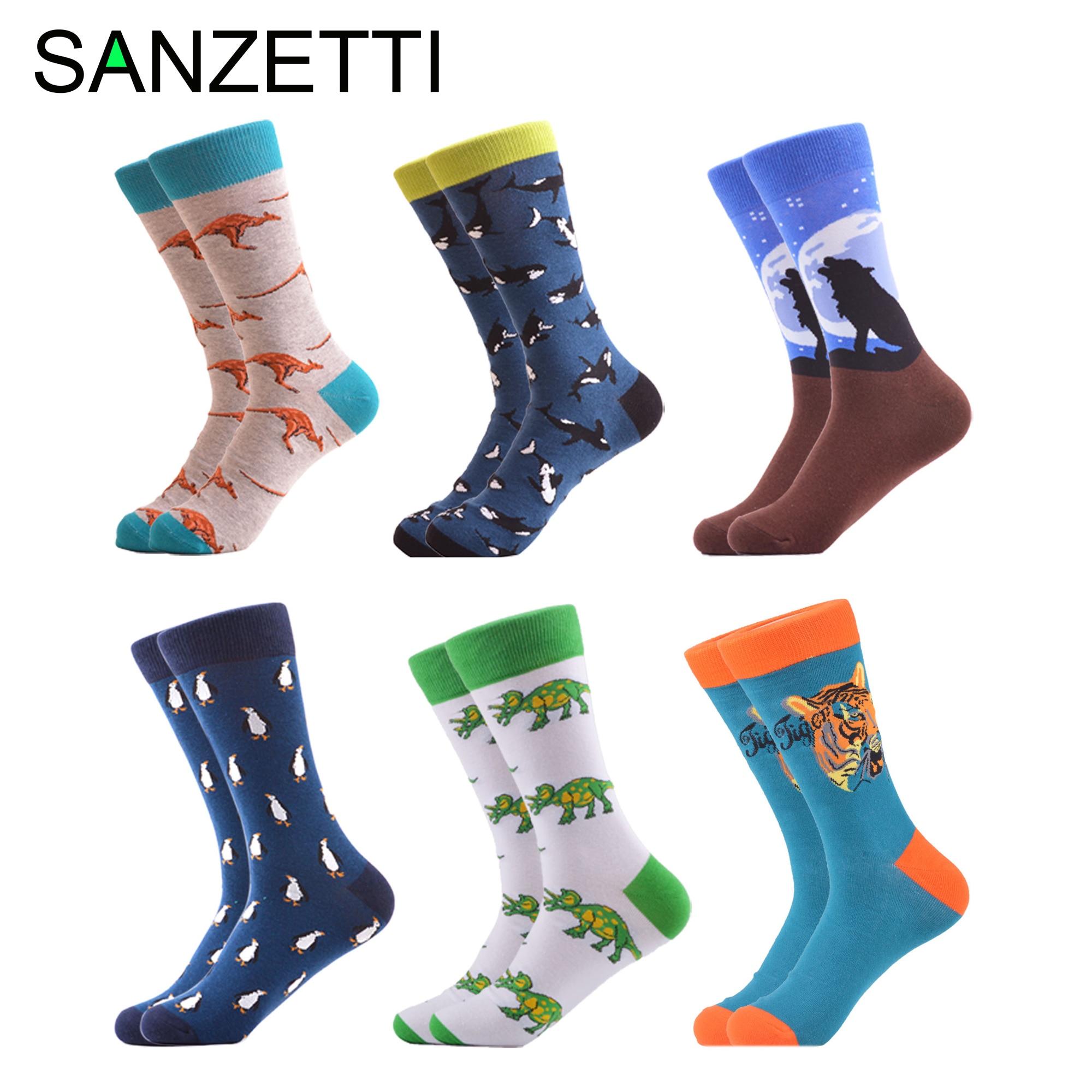 SANZETTI 6 Pair/lot Novelty Hip Hop Starry Sky Striped Pattern Men's Funny Crew Socks Combed Cotton Causal Dress Wedding Socks