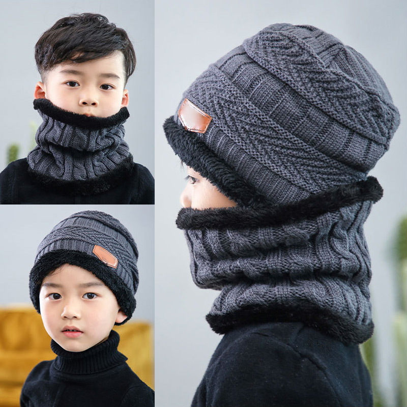 2021 Kids Beanies Keep Warm Plush Knitted Ribbed Children Winter Supplies Hat Scarf Set Girl Boys Ring Scarves For Boys Girls