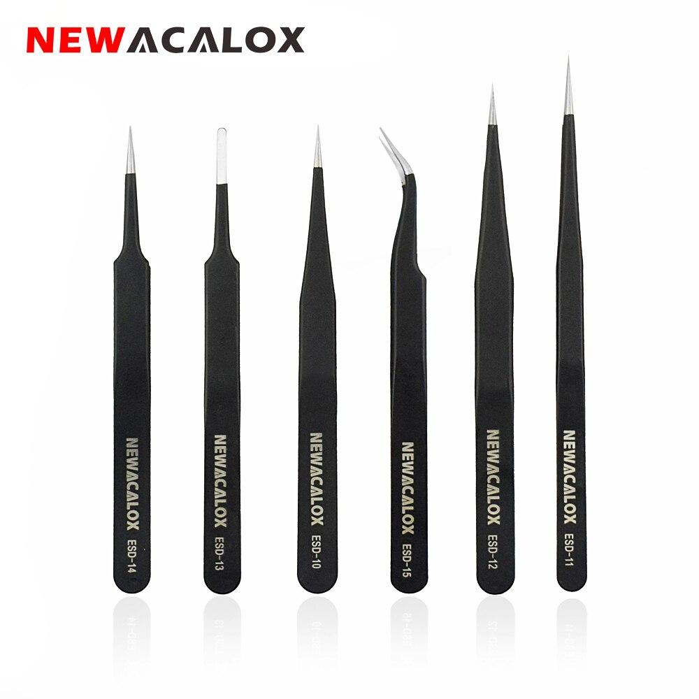 NEWACALOX 6 pçs/set ESD Anti-Static Pinças de Aço Inoxidável Anti-magnético Não-corrosivo para a Eletrônica Telefone Reparação Ferramenta